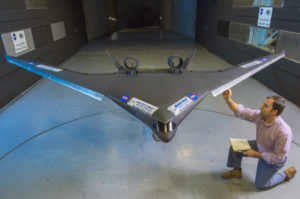 Stephen Provost with the Boeing BWD model being prepared for testing.